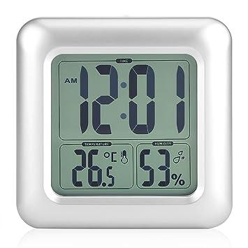 Horloge Étanche Digitale Horloge de Bain LED Réveil Silencieux ...
