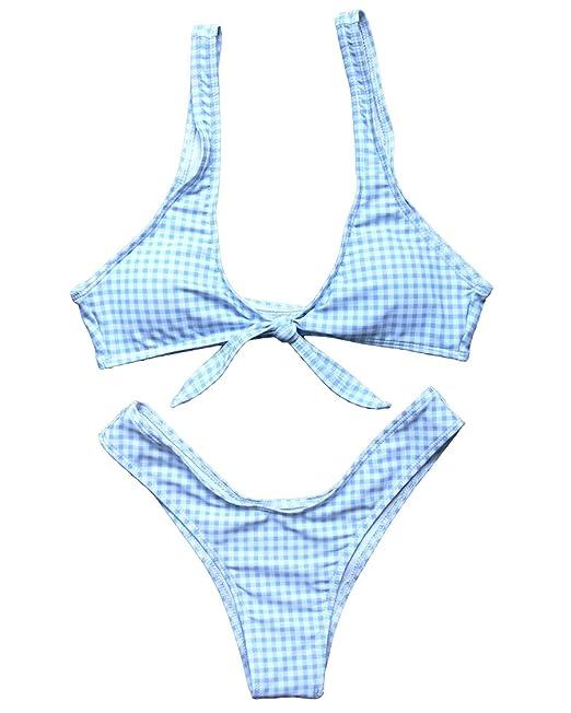 56fd819d6583bf Amazon.com: MOSHENGQI Women Tie Knot Front Gingham Printed High Thong 2  Piece Swimsuits Bikini: Clothing