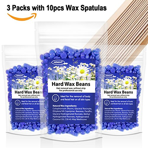 Hard Wax Beans for Painless Hair Removal - Smooth Facial and Body Hair Depilatory Wax Beans, Brazilian Bikini Wax Beads for Women Men 300g/10.5 Oz Chamomile +10 Wax Applicator Sticks (Max Wax Stick)