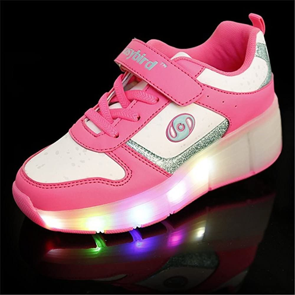 FG21ds21g Unisex Children LED Light Up Shoes Roller Skate Shoes Flashing Sneakers Pink 35 M EU//3.5 M US Big Kid