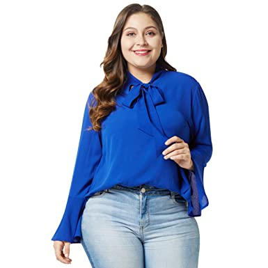 746afbc6463e6 Mrsrui Women Summer Casual Pullover - Solid T Shirt Long Sleeve Tunic Tops Plus  Size Office Work Chiffon Blouse Shirts at Amazon Women s Clothing store