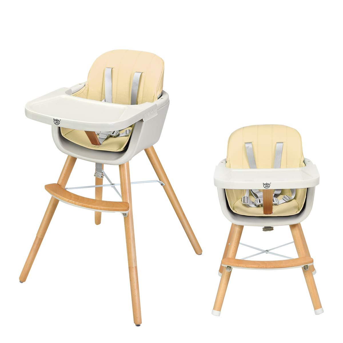 BABY JOY Convertible High Chair, Wooden 3 in 1 Multi-Functional Highchair with Adjustable Legs, 5-Point Seat Belt, PU Cushion, Adjustable Tray and Detachable Footrest for Baby and Infants (Beige) by BABY JOY