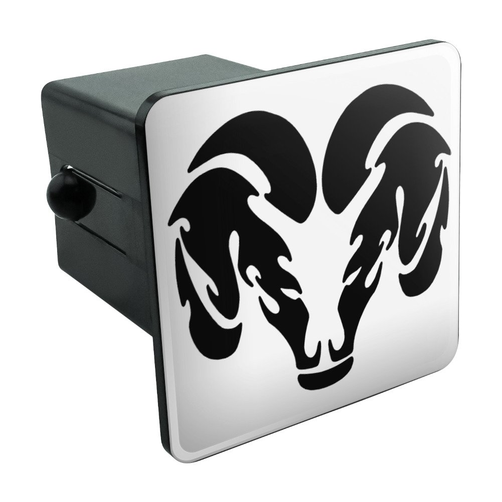 Graphics and More Ram Head Black On White 2 Tow Trailer Hitch Cover Plug Insert