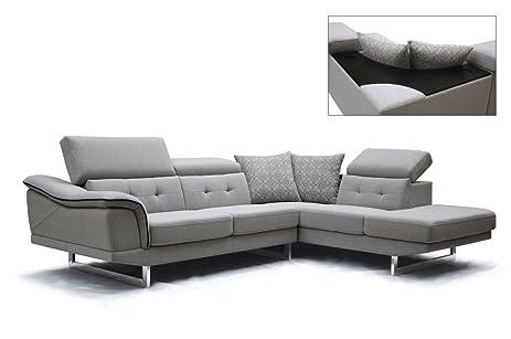 Amazoncom Divani Casa Gaviota Modern Grey Fabric Sectional Sofa