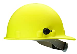 Fibre-Metal by Honeywell P2AQRW02A000 Super Eight Fiber Glass Cap Style Ratchet Hard Hat with Quick-Lok, Yellow