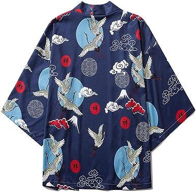 LYH Mancha Haori Yukata Hombres Kimono Japonés Cárdigan ...