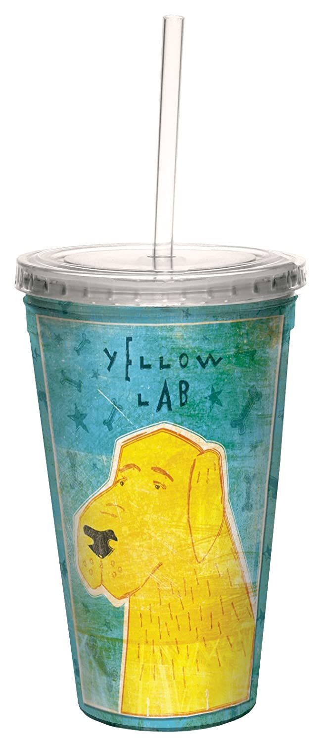 16-Ounce Golden Artful Traveler Double-Walled Cool Cup with Reusable Straw Tree-Free Greetings cc33989 Yellow Labrador by John W