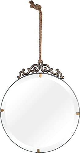 NIKKY HOME Vintage Hanging Round Wall Mirror Beveled Edge with Rope for Home Bathroom Bedroom Living Room, 12.01 x 0.39 x 21.65 Inches