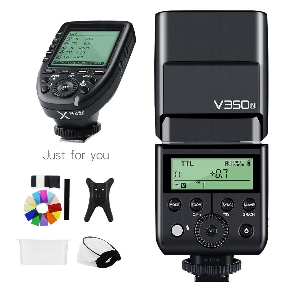 Godox V350N TTL 1/8000s HSS 2.4G GN36カメラフラッシュ、500フルパワーフラッシュ、XPRO-Nトリガーで0.11.7秒のリサイクル時間 Nikon (V350N+Xpro-N) B07D8QSX7W   V350N+Xpro-N