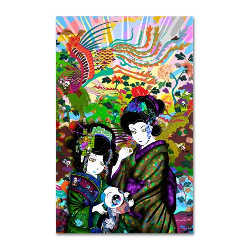 "picture of Trademark Fine Art ""Pulgha and 2 Geishas"" Artwork by Miguel Paredes, 22 by 32-Inch"