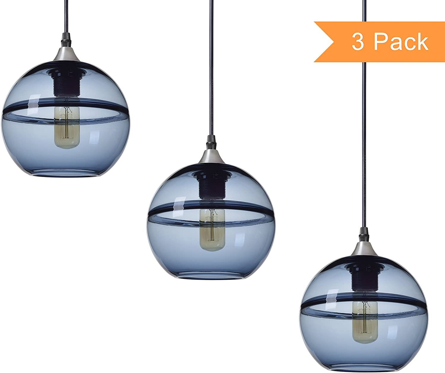 Casamotion Pendant Lighting Handblown Glass Drop Hanging Light, Unique Optic Glass Pendant Lamp, Brushed Nickel Finish, Grey Blue, 7 , 3-Pack