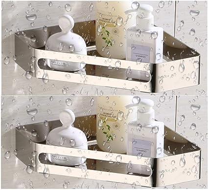 XIAJIA-Estantería de Esquina para Baño Ducha,Acero Inoxidable 304,Tratamiento de Pulido,Estante Triangular de baño,Estantes 2 Piezas Plata,para Colgar ...