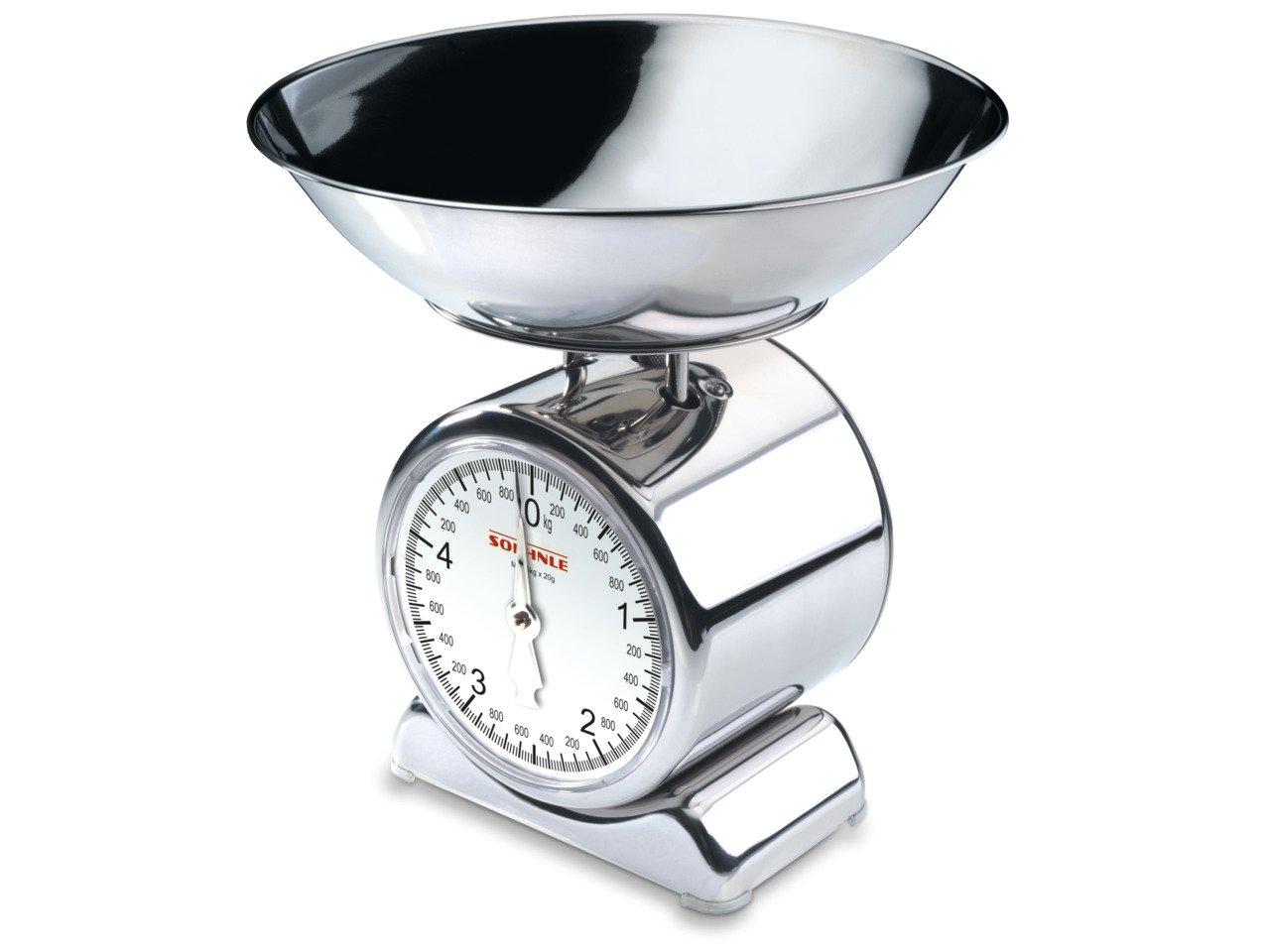 Soehnle Silvia Bilancia da Cucina, in Acciaio Inox, Argento 65003 alimenti analogica pesa