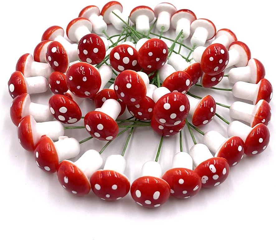 Aliotech 50 Pieces Mini Mushroom Miniatures Artificial Garden Fairy Bonsai Plant Pot Resin Craft Decoration for Home DIY Micro Landscape Decor (Red)