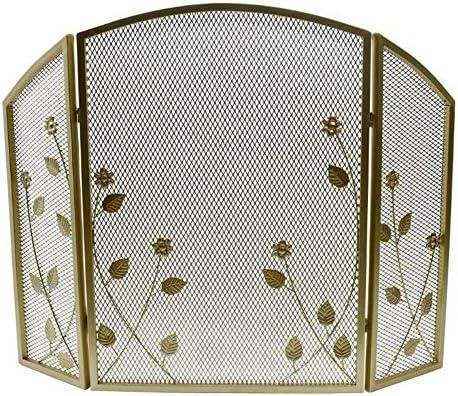 暖炉用品・アクセサリ 錬鉄3パネルファイアースクリーン、赤ちゃんの安全証明ヴィンテージソリッドアーチ暖炉フェンス、ウッドバーニング、41.3用のガードメッシュスパーク×30.7inch (Color : Gold)