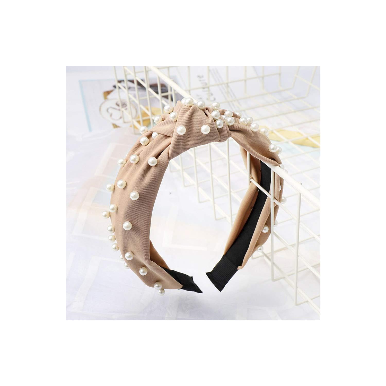 Korean Pearl Headband For Women Bezel Simple Knotted Hair Loop Women Hairband Headwear Accessories,D