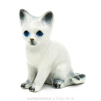 Sentado gato siamés wichien Maat gatito (blanco, gris) – cerámica de figuras –