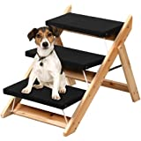 Popamazing Folding Pet Steps Ramp for Large/Small Dogs/Cats Wooden 3 Steps Pet Access Stairs/Ladders