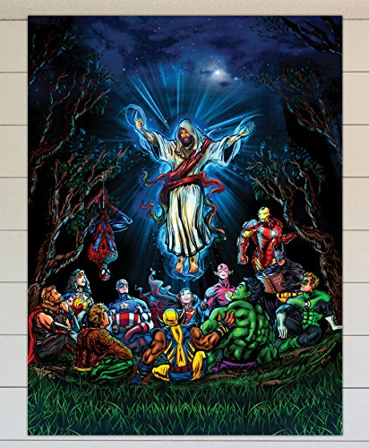 TRIUMPHWEAR and thats how i saved the world - Jesus Ascension DC Marvel Superheroes - 12x16 wall poster -