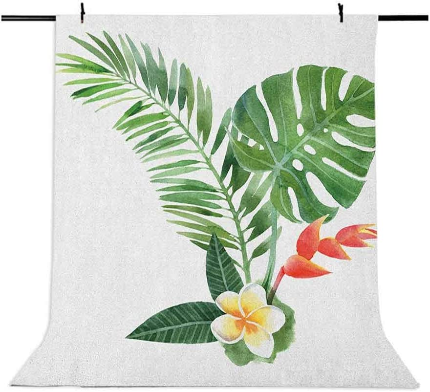 9x16 FT Plant Vinyl Photography Backdrop,Beautiful Frangipani Blooming on Tropical Fern Exotic Art Watercolor Background for Baby Shower Bridal Wedding Studio Photography Pictures