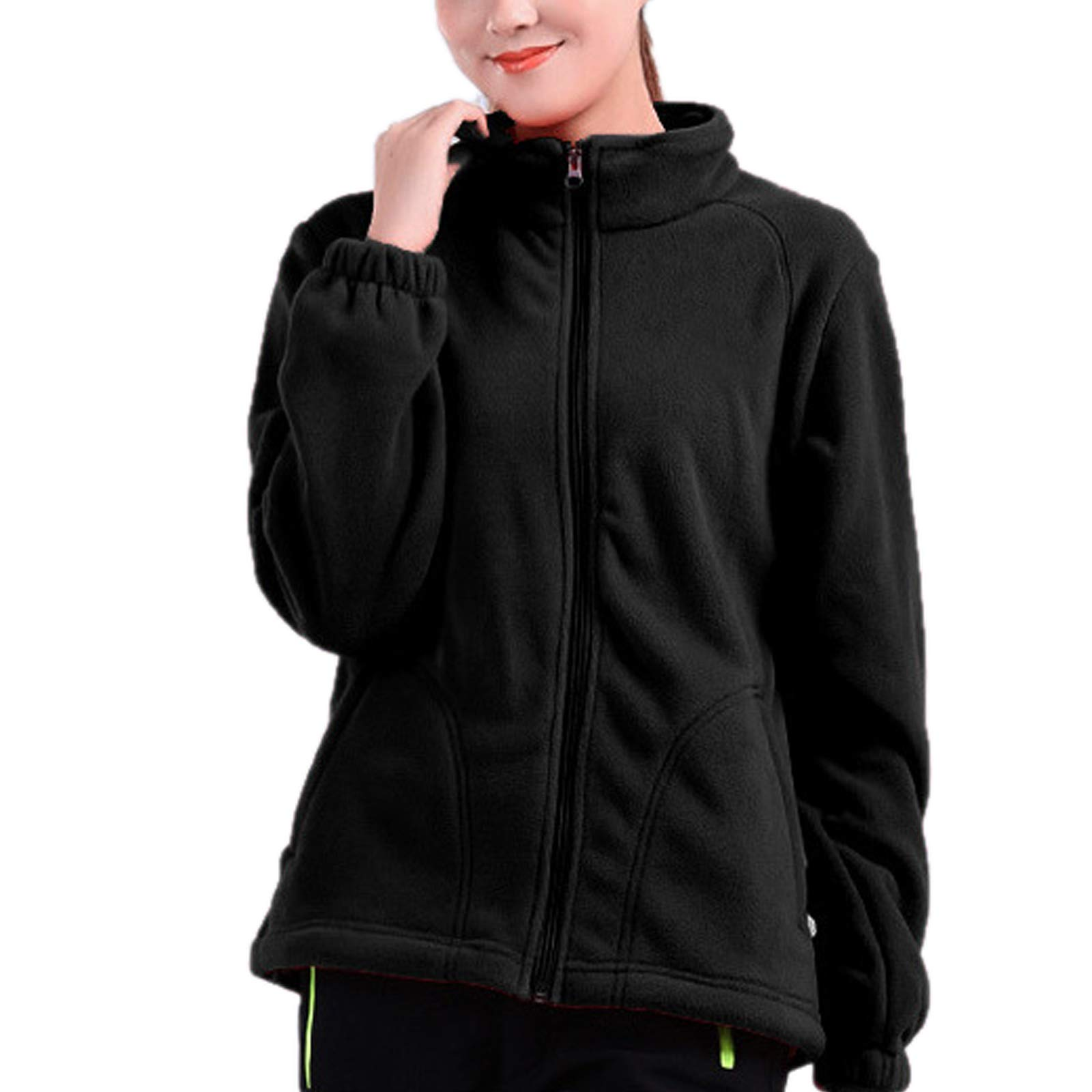 ZumZup Womens Fleece Jacket Full Zip Stand Collar Sportwear Top Outwear Black2 Bust 42.5''(Asie 2XL) by ZumZup