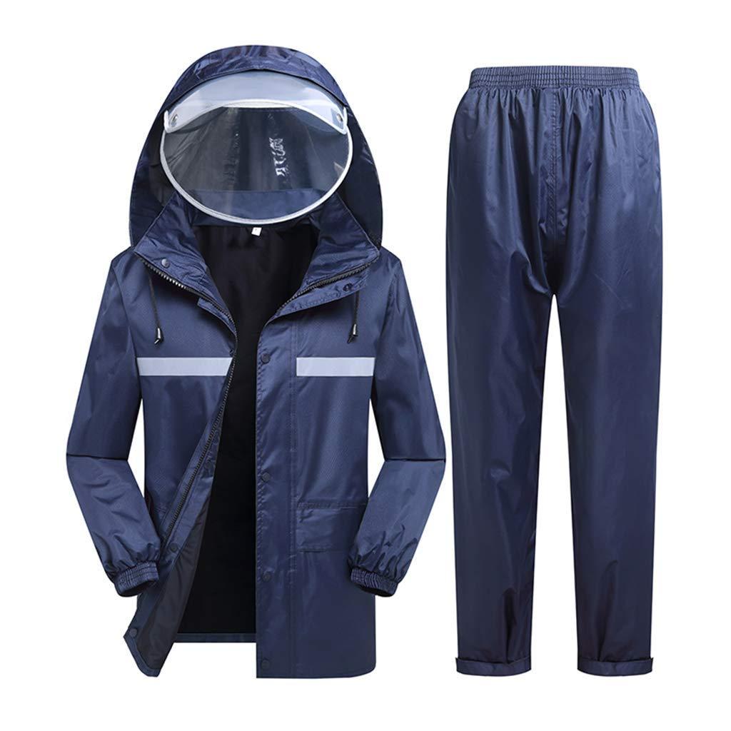 XX-grand Giow Imperméables Costume Adulte Imperméable Double épais Imperméable Imperméable Wearable Réutilisable Marine Bleu Jour de Pluie Pêche Plusieurs Tailles