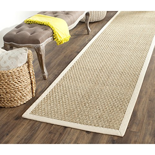 Safavieh Natural Fiber Collection NF114J Basketweave Natural and  Ivory Seagrass Runner (2'6