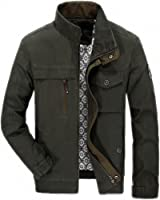 Autumn Jacket Men Casual Stand Collar Cotton Windbreaker Mens Jackets And Coats Plus Size L-