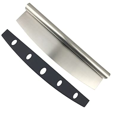 Kingware Home SS18/0 Stainless Steel 14'' Pizza Cuttet Rocker Style With Blade Cover,Sharp Stainless Steel Slicer,Dishwasher Safe