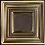 Schoolhouse-Faux Tin Ceiling Tile - Antique Brass 25-Pack