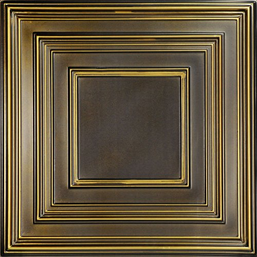 Schoolhouse-Faux Tin Ceiling Tile - Antique Brass 25-Pack