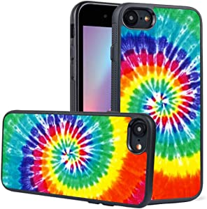 LEALIN iPhone 7 Case,iPhone 8 Case, Rainbow Tie Dye Pattern Antiskid Handle Black TPU Phone Case for iPhone 7,iPhone 8 Cover