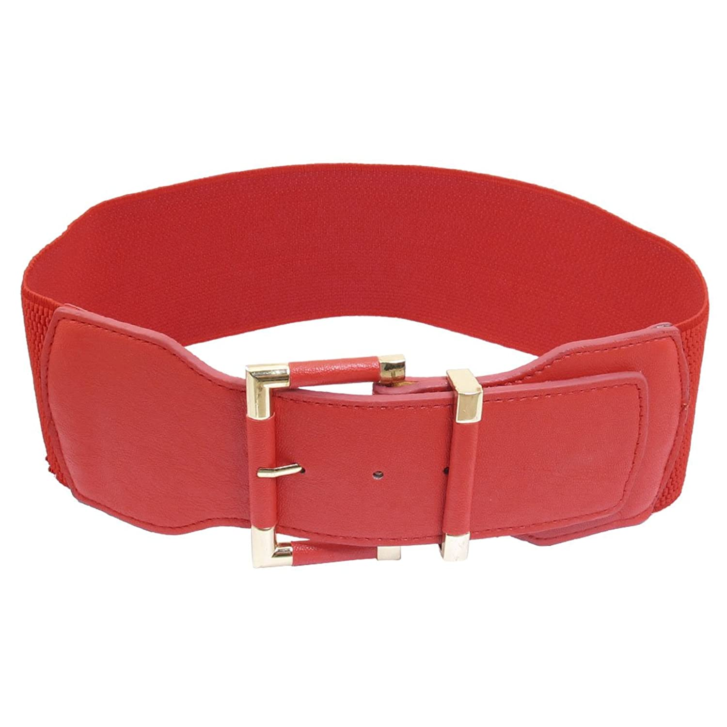 Ladies Single Pin Buckle Closure Faux Leather Stretchy Band Waist Belt Red