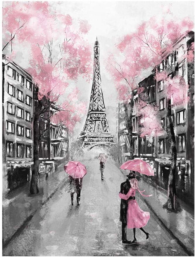 mmzki Cuadros de Caballos para Paredes Rosa Romántica Ciudad Pareja París Torre Eiffel Paisaje Pintura al óleo sobre Lienzo Impresión de póster Cuadro de Pared para Sala Cuadros No Frame