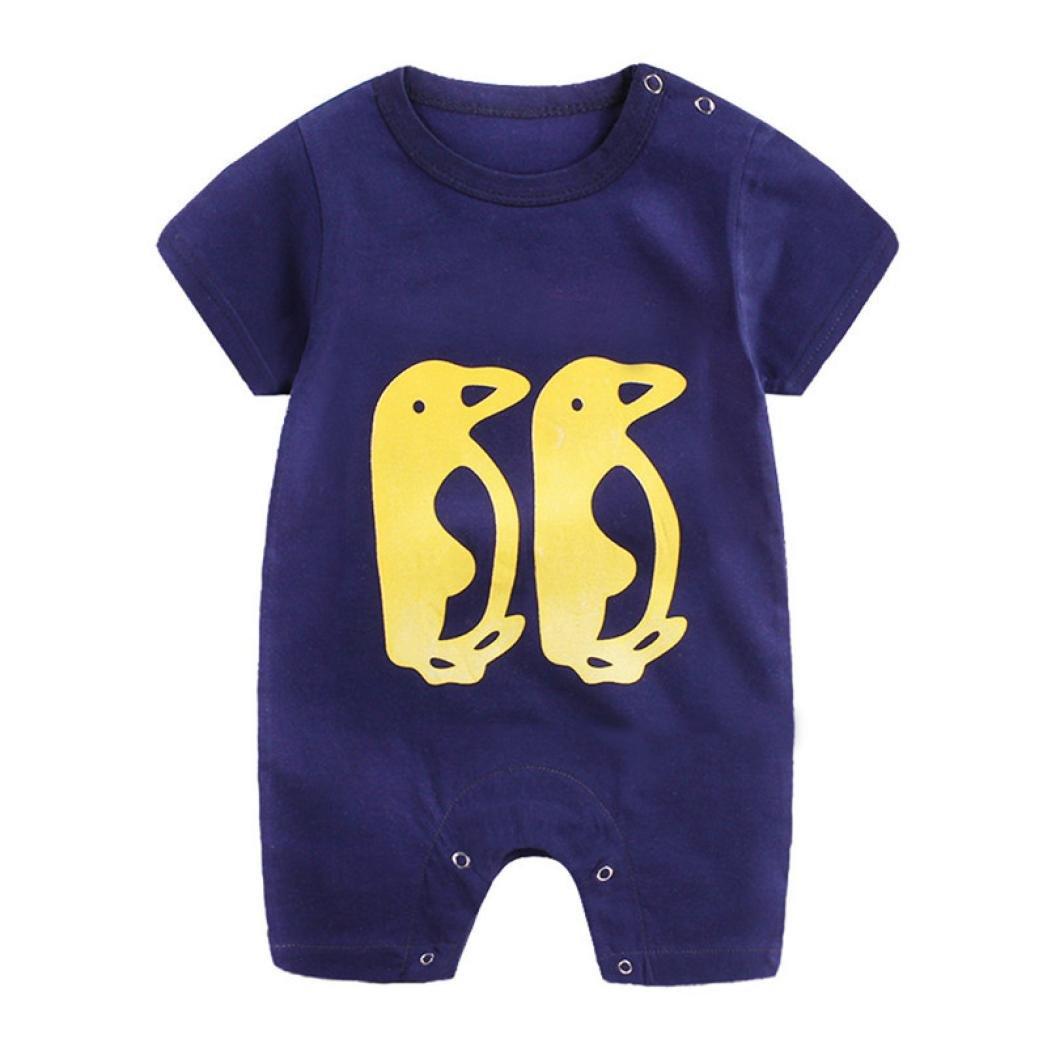 Abbigliamento Neonato, Dragon868 Cotone Giraffa Mucca Pinguino Pagliaccetto 2018 Estivi