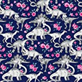 Tiny Dinosaurs and Roses on Dark Blue Purple by micklyn - Custom Fabric with Spoonflower - Printed on Basic Cotton Ultra Fabric by the Yard