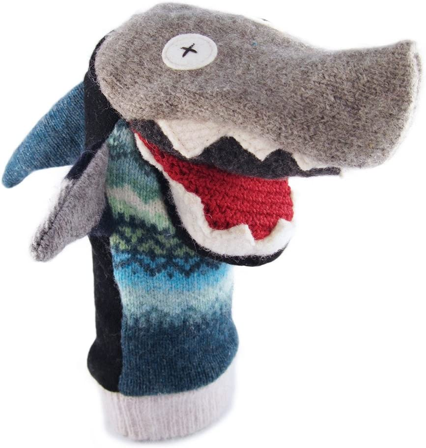 Cate & Levi - Hand Puppet - Premium Reclaimed Wool - Handmade in Canada - Machine Washable (Shark)