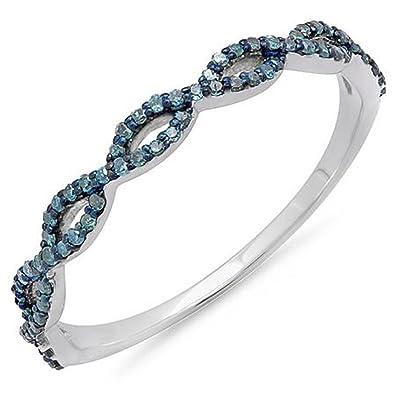 Amazoncom 020 Carat ctw 10K White Gold Round Blue Diamond Swirl