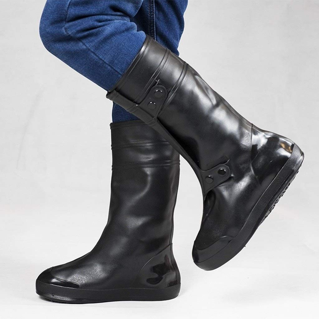 YANGBM Silicone Rain Boots Injection Silicone Waterproof Rain Boots Set Rainy Day Non-Slip Thick Wear-Resistant Bottom Shoe Cover Silicone rain Boots (Color : Black, Size : XXXXXL)