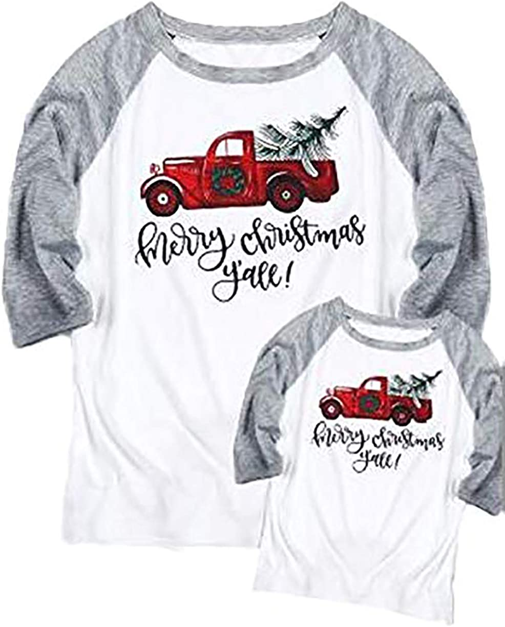 Mommy and Me Merry Christmas Y'all Baseball T-Shirt Women 3/4 Sleeve Family Matching Tee Tops