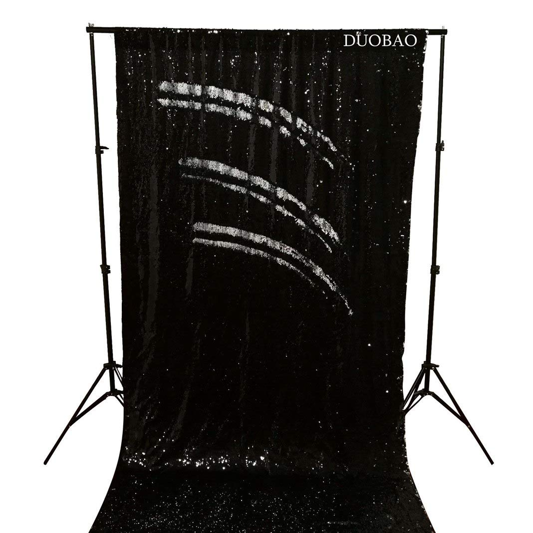 DUOBAO Sequin Backdrop 8Ft Mermaid Sequin Curtains Black to Silver Reversible Shimmer Backdrop 6FTx8FT Sparkle Photo Backdrop