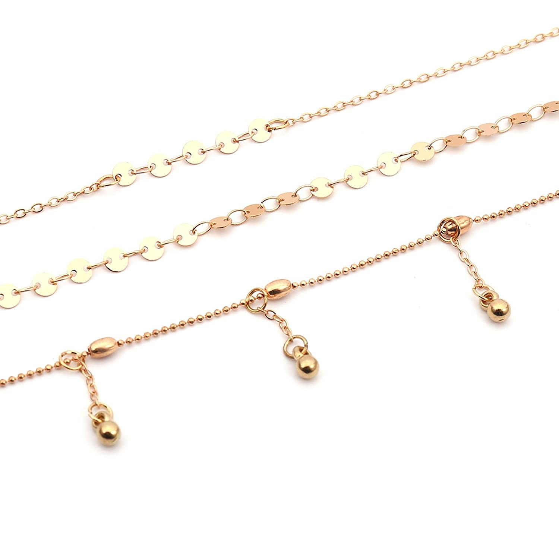 83309fdcc207 Bishilin collares de bisutería baratos Cadena de cuentas de lentejuelas  collar de múltiples capas colgantes para parejas  Amazon.es  Joyería