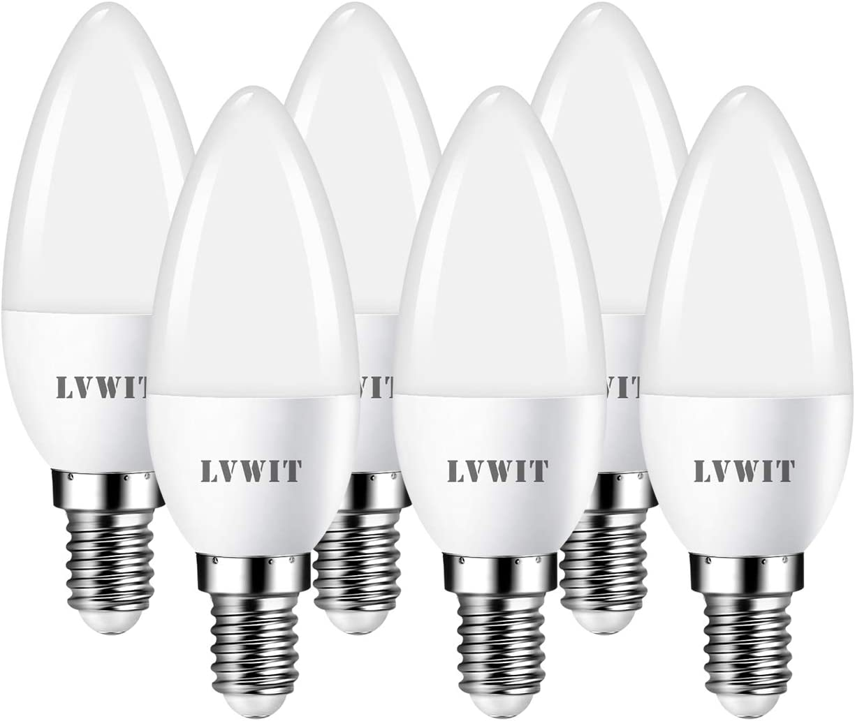 LVWIT Bombillas LED Vela E14 (Casquillo Fino) - 5W equivalente a 40W, 470 lúmenes, Color blanco frío 6500K, No regulable - Pack de 6 Unidades. (View amazon detail page)