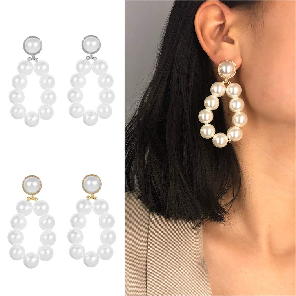Round Pearl Dangle Earrings Big Pearl Earrings Simple Temperament Pearl for Brides or Bridesmaids