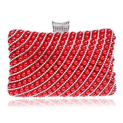 donne delle del delle donne del diamanti sera partito del dei spalla borsa TUTU sera della della borse red Rhinestones di silver metallo delle della frizione perla catena sacchetto di del di P6wnEO