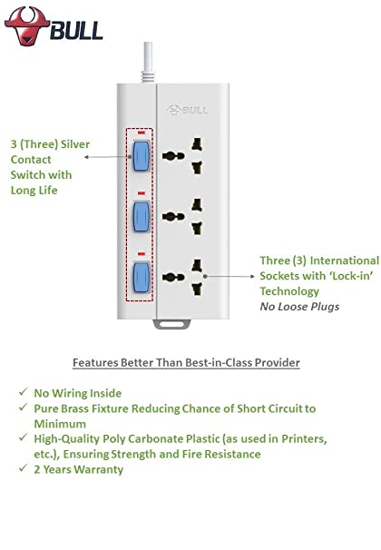 Remarkable Bull 3 Socket 3 Switch 1 5 M Wire Extension Board White Amazon In Wiring 101 Tzicihahutechinfo