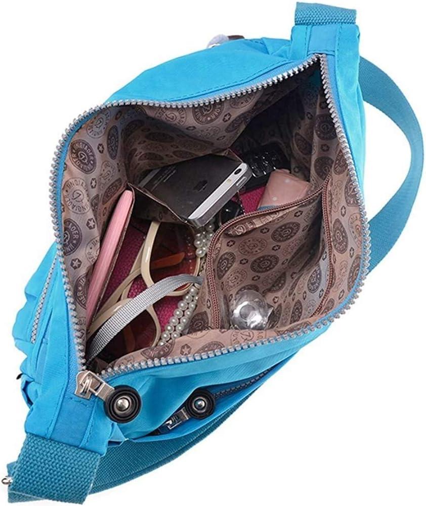 KAIFAN Sacs à Dos Womens Poches Multiples Design Croix-Corps Sac en Nylon Messenger Bag Casual for Les Filles Navy Blue