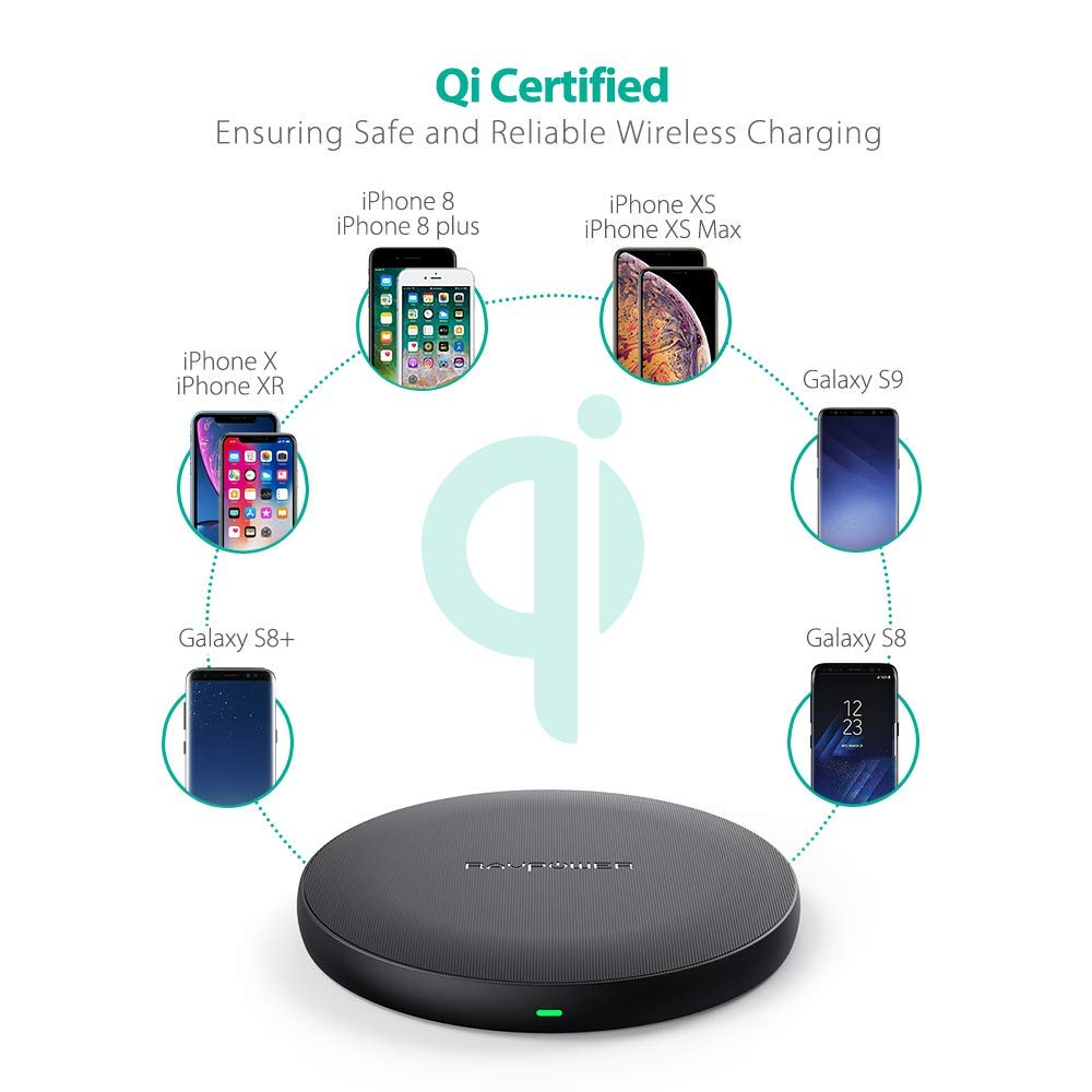 AC Adapter is Not Included S8 /& All Qi-Enabled Devices Qi Wireless Charging Pad RAVPower Qi Certified Ultra-Safe Wireless Charger Compatible iPhone Xs Max XR XS X 8 Plus 8 Galaxy S9 S8