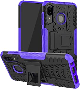 SKTGSLAMY Galaxy A20/Galaxy A30/Galaxy A50 Case, [Shockproof] Tough Rugged Dual Layer Protective Case Hybrid Kickstand Cover for Samsung Galaxy A20/A30/A50 (Purple)