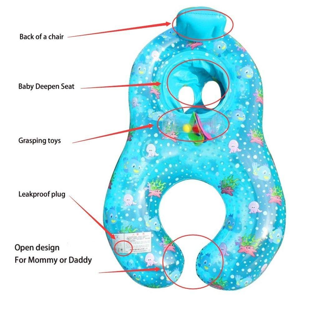 YONG-SHENG Mutter Baby Schwimmen Treibende Ringe aufblasbar Baby Hilfe Sicherheit Pool Boot Spielzeuge Flo/ß Spiel mit Sitz Dual Schwimmen Ringe f/ür Alter 6 bis 36 Monaten